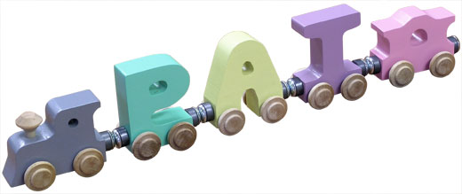 Personalized 3 Letter Pastel Name Train