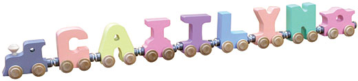 Personalized 7 Letter Pastel Name Train