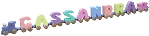 Personalized 9 Letter Pastel Name Train